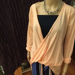 Faux Wrap-Front Tunic Top